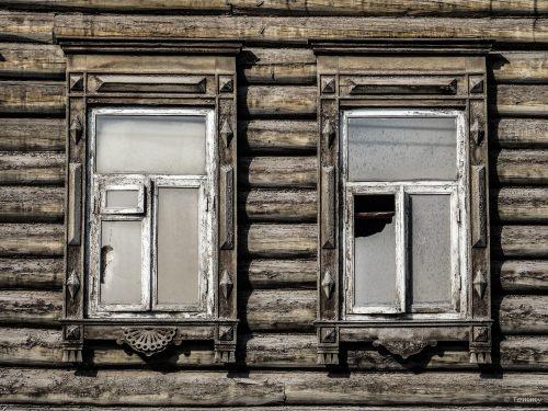 kaputte Fenster, Irkutsk, Russland