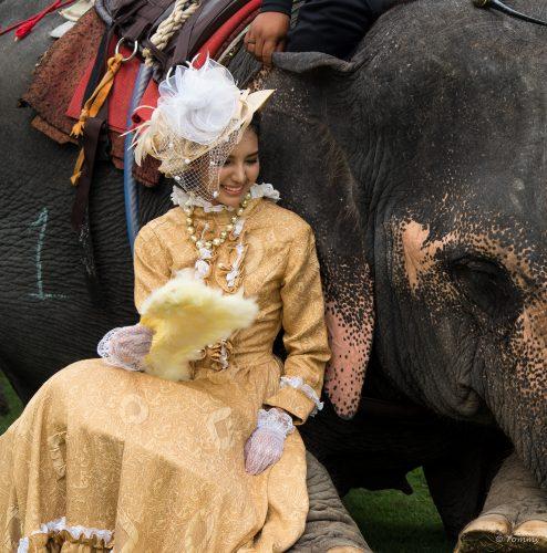 Elefantenpolo, Porträt, Frau im Kleid, Bangkok, Thailand