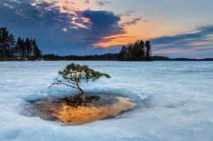 finland, lake, sunset, ice